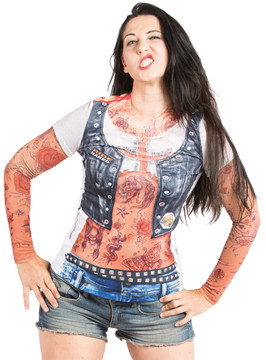 Faux Real Ladies Tattoo with Mesh Sleeves - Model Front View