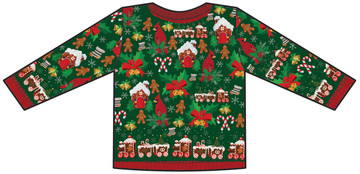 Toddler Ugly Christmas Cardigan Sweater T-Shirt - Back View