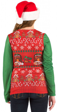 Faux Real Ladies Ugly Christmas Vest - Back