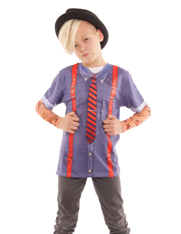 Youth Hipster W/ Suspenders Tattoo Tee W/ Mesh Sleeves