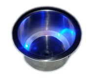 Stainless Steel Drink Holder with Drain and Blue LED Lights