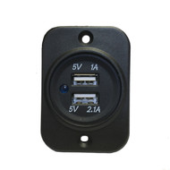 Waterproof USB Port for boats showing faceplate in vertical orientation