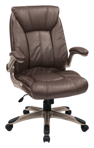 Office Star Faux Leather Managers Office Chair, Flip Arms, Espresso