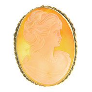 Vintage 14k Gold Cameo Pin Brooch Pendant