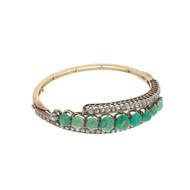 Fine Early Edwardian 18K Cabochon Emerald & Diamond Bangle Bracelet 11.35 carats Total Weight