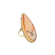 14k GOLD PEAR SHELL CAMEO DIAMOND RING CARVED SHELL SZ 9.75