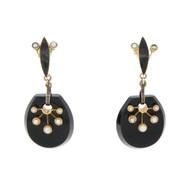 Vintage 14k Gold Mourning Earrings Black Onyx Pearl Drop