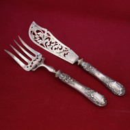 HENRY GABERT Exceptional Antique French Sterling Silver Fish Set RARE