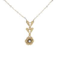 Old Vintage Gold Filled Flower Floral Necklace Estate Item