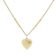 Antique 14k Gold Japanese Bovine Carved Heart Necklace Pearl Enamel RARE