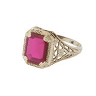 Vintage Art Deco 14k White Gold Filigree Ring Ruby Red (Syn) Size 7 Great Price!
