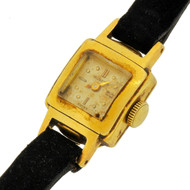 Gueblin 1950's 18k gold Miniature Dress Watch with Original band and buckle