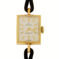 Movado for Tiffany & Co. Lady's 14k Gold Square Dress Wristwatch 17 Jewels