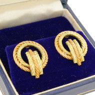 Vintage Tiffany & Co 14k Rose Yellow Gold Rope Nautical Earrings 11.3G Two Tone