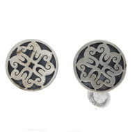 Vintage Mexico VGV Sterling Silver Overlay Round Modernist Screw Back Earrings