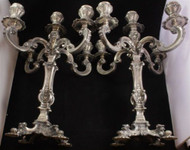 Pair of Rococo Style Italian 5-light Candelabra ~ .800 Fine Silver ~Not Weighted