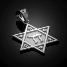 925 Sterling Silver Star of David Chai Pendant