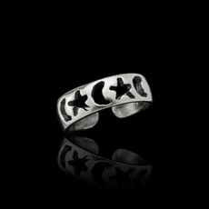 Sterling Silver Stars and Crescent Moon Toe Ring