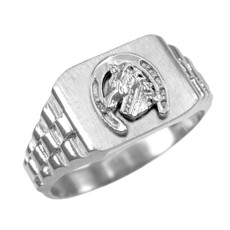 925 Sterling Silver Lucky Horseshoe Mens Rectangular Ring