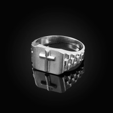 Sterling Silver Mens Cross Ring