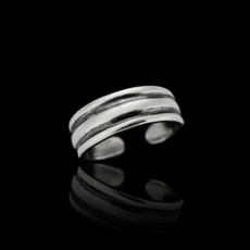 Sterling Silver Solid Lines Toe Ring