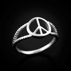 Sterling Silver Peace Sign Dainty Ring