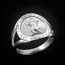 Sterling Silver Saint Christopher Medallion Ring