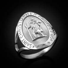 Sterling Silver Saint Christopher Oval Ring