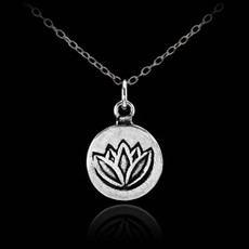 Silver Lotus Coin Charm Necklace