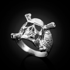 Mens Sterling Silver Skull and Bones Biker Ring