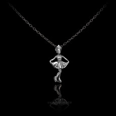 Sterling Silver Figure Skater Charm Necklace