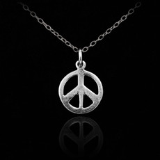 Sterling Silver PEACE Symbol Charm Necklace