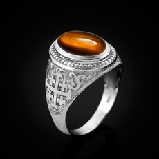 Sterling Silver Jerusalem Cross Tiger Eye Gemstone Ring