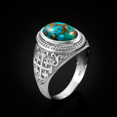 Sterling Silver Jerusalem Cross Blue Copper Turquoise Statement Ring
