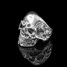 Sterling Silver Skull Head Skeleton Band Mens Biker Ring