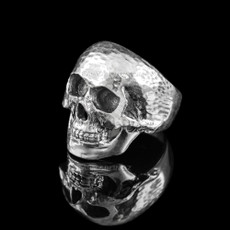 Sterling Silver Skull Head Mens Biker Ring