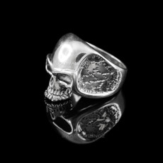 Sterling Silver Polished Skull Wide Cast Mens Biker Ring