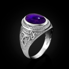 Sterling Silver Celtic Band Purple Amethyst February Birthstone Ring