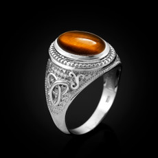 Sterling Silver Celtic Band Tiger Eye Gemstone Statement Ring