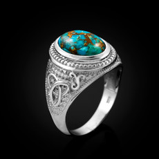 Sterling Silver Celtic Band Blue Copper Turquoise Statement Ring