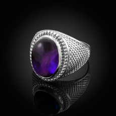 Sterling Silver Purple Amethyst Cabochon February Birthstone Ring
