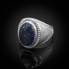Sterling Silver Lapis Lazuli Gemstone Statement Ring