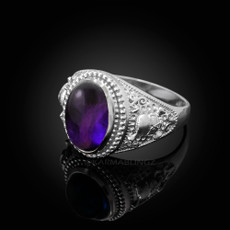 Sterling Silver Skull and Bone Purple Amethyst Biker Birthstone Ring