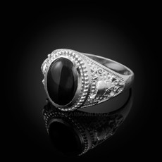 Sterling Silver Skull and Bone Black Onyx Statement Ring