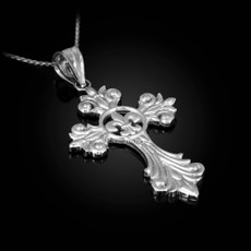 Sterling Silver Fleur-de-Lis Cross Pendant Necklace