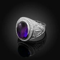 Sterling Silver Marijuana Weed Purple Amethyst February Birthstone Ring