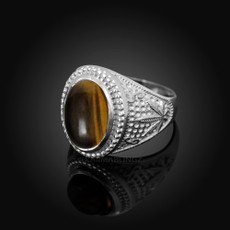 Sterling Silver Marijuana Weed  Tiger Eye Statement Ring