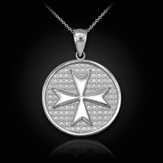 Sterling Silver Knights Templar Maltese Cross Medallion Pendant Necklace