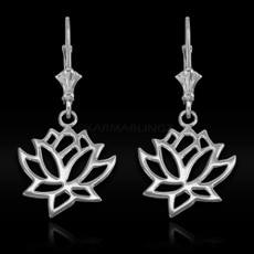 Sterling Silver Lotus Flower Yoga Earrings
