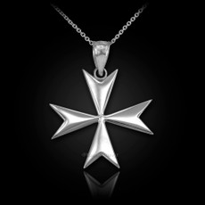 Polished Sterling Silver Maltese Cross Pendant Necklace